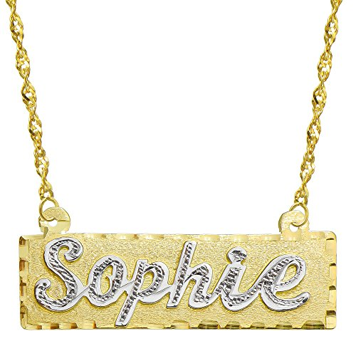 - Pyramid Jewelry 14K Two Tone Gold Personalized Name Plate Necklace - Style 2 (20 Inches, Singapore Chain)
