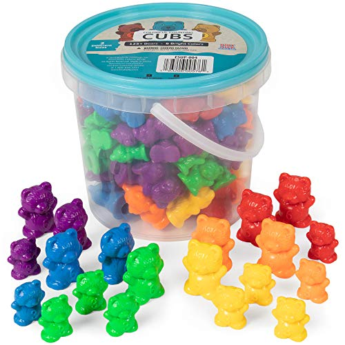Colorful Counting Cubs - Bucket of 125+ Bears in 6 Bright Colors and Two Different Sizes - Great for Early Childhood Education, Preschool Prep, Daycare Activities, Montessori Toys, and More