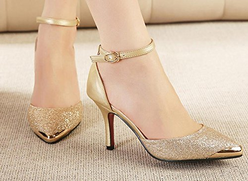 Sandals Versatile Buckle Heeled Spring Pointed And Fine With Shoes The Shoes Gold Sexy A Women'S Baotou Singles Summer Women'S HGTYU With Gold High Slotted And F8xWROawYn