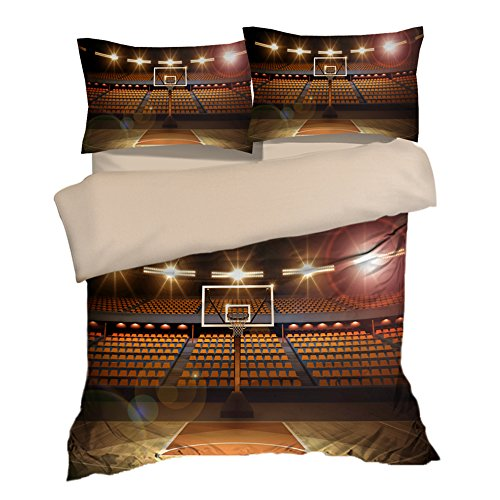 Fantastic Basketball Court Image Cotton Microfiber 3pc 80''x90'' Bedding Quilt Duvet Cover Sets 2 Pillow Cases Full Size by DIY Duvetcover