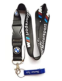 BMW Motosport Keychain Key Chain Black Lanyard with Release Buckle by Shenton Tech