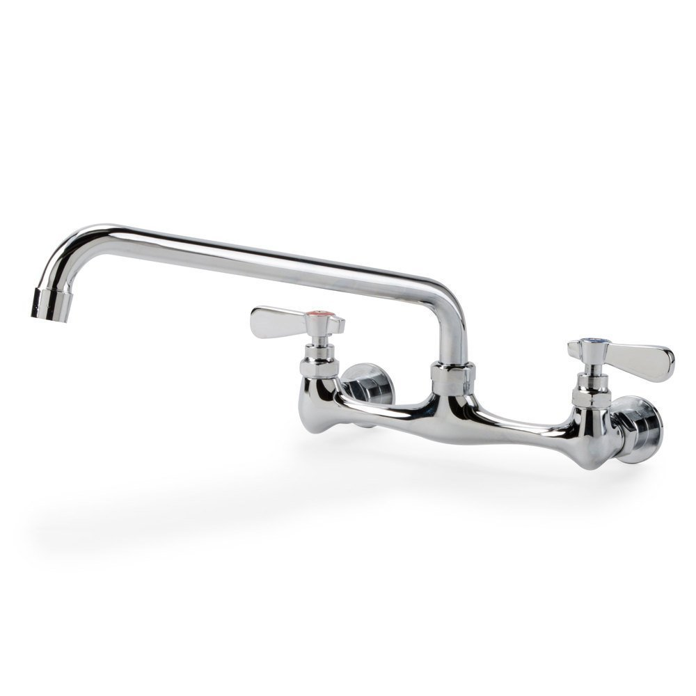 Commercial Wall Mount Sink Faucet W/ 8 Inch Centers & 12 Inch Swing Spout