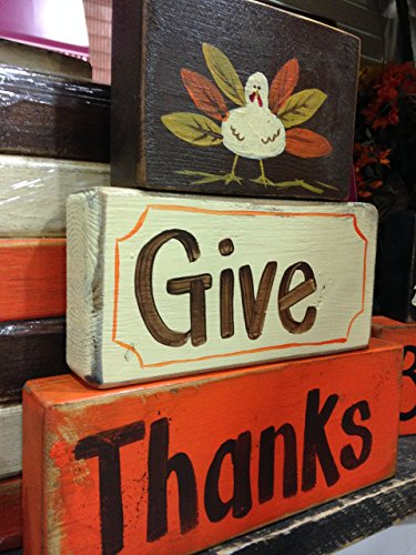 Give Thanks sign wood blocks -