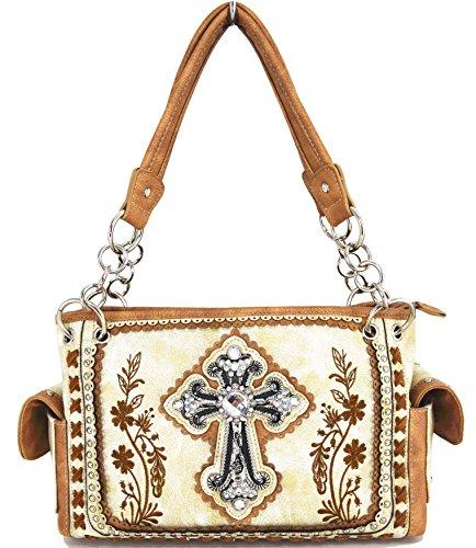 Blancho Ropa de cama Mujer [patrón clásico] Bolsa de cuero de PU Bolsa Handbad bolso elegante Handbag-Ivory
