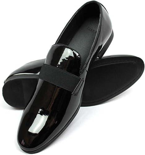 Black Tuxedo Dress Shoes Slip On Mens Loafer Patent Velvet Bow Tie Top AZAR MAN