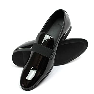 39ad8365 New Men's Black Patent Leather Tuxedo Slip on Dress Shoes by Azar