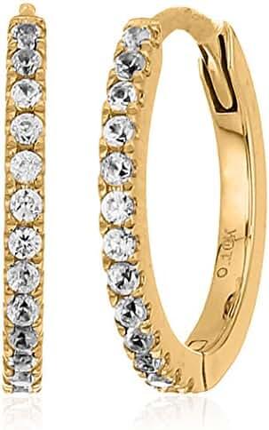 10k Gold White Zircon Small Hoop Earrings