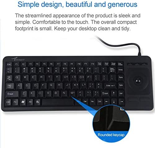 1.5m Length DS-8900 PS //2 Interface Prevent Water Splashing Laser Engraving Character One-Piece Wired Trackball Keyboard