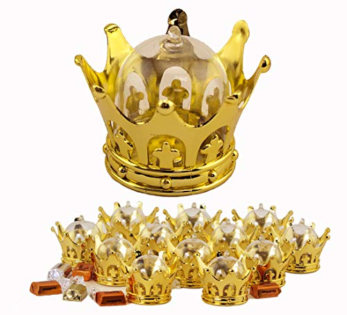 JCHB 12PC Gold Crown Fillable for Small Candy Chocolate, Table Decorations, Party Favors