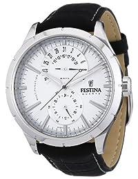 Festina Men's Retro F16573/1 Black Leather Analog Quartz Watch with Silver Dial