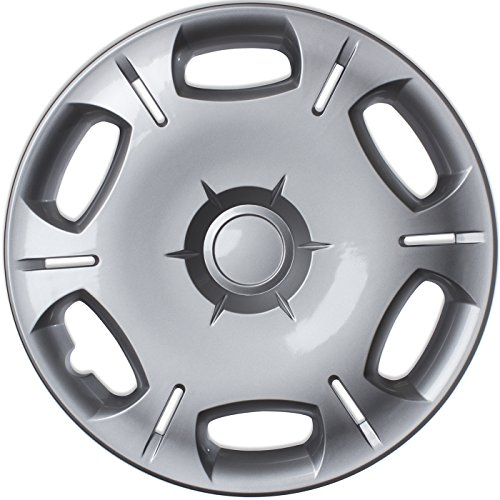 Hubcaps 16 inch Wheel Covers - (Set of 4) Hub Caps for 16in Wheels Rim Cover - Car Accessories Silver Hubcap Best for 16inch Cars Standard Steel Rims - Snap On Auto Tire Replacement Exterior Cap by OxGord (Image #1)