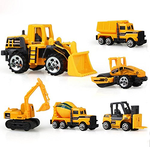 Price comparison product image Engineering Construction Vehicles Set ,Diecast Metal and Plastic 6Pcs Mini Artificial Model Toy - Bulldozer, Truck , Excavator , Forklift , Road RollerMixer For kids Educational Toys