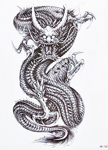 Drago tattoo NERO Arm Braccio Petto tatuaggio adesivi hb760