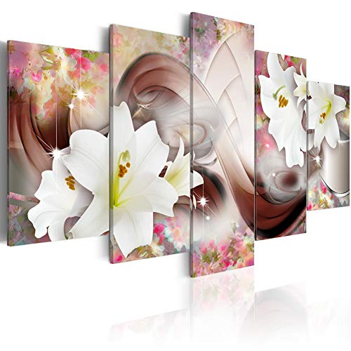 Rooms Painting Ideas (Large Modern Canvas Painting Wall Art 5 Piece Floral Print Elegant Flower Artwork for Living Room Decor and Home Decorations)