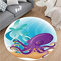 Nalahome Modern Flannel Microfiber Non-Slip Machine Washable Round Area Rug-e Octopus on Seabed Underwater with Coral Reefs Aquarium Print Sky Blue Purple Sand Brown area rugs Home Decor-Round 79