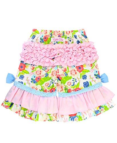 RuffleButts Little Girls Floral Print Ruffled Capri Pants - English Garden - 3T (Capris Girls Satin)