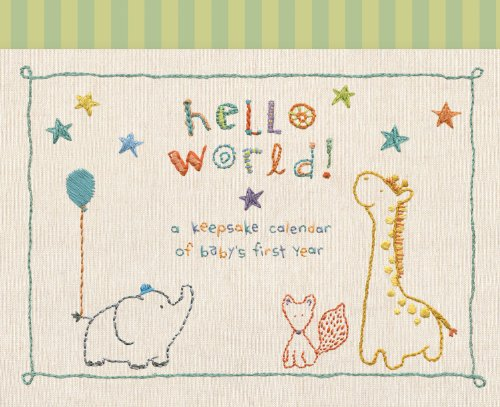 C.R. Gibson Animals 'Hello World' Baby Calendar Baby First Year Tracker, 11'' W x 18'' H A Babys First Year Calendar