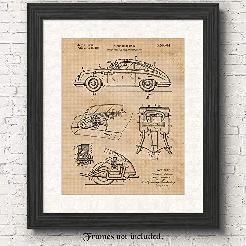 Original Porsche 356 Patent Poster Print - Set of 1 (One 11x14) Unframed Picture - Great Wall Art Decor Gifts Under $15 for Home, Office, Garage, Shop, Man Cave, Teacher, Vintage German Cars Fan