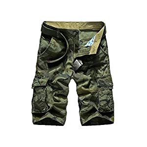 OCHENTA Men's Cotton Beach Pockets Camo Print Cargo Shorts