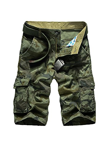 OCHENTA Men's Outdoor Camo Cargo Shorts Military-Style #66 Army Green Size 36 - US 34 - Camo Military Shorts