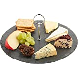 VonShef Round Slate Cheese Board Serving Set with Carrying Handle