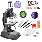 YBB Kids Beginner Microscope With LED,100/300/600/900x Magnification,Includes Accessory Set and Box