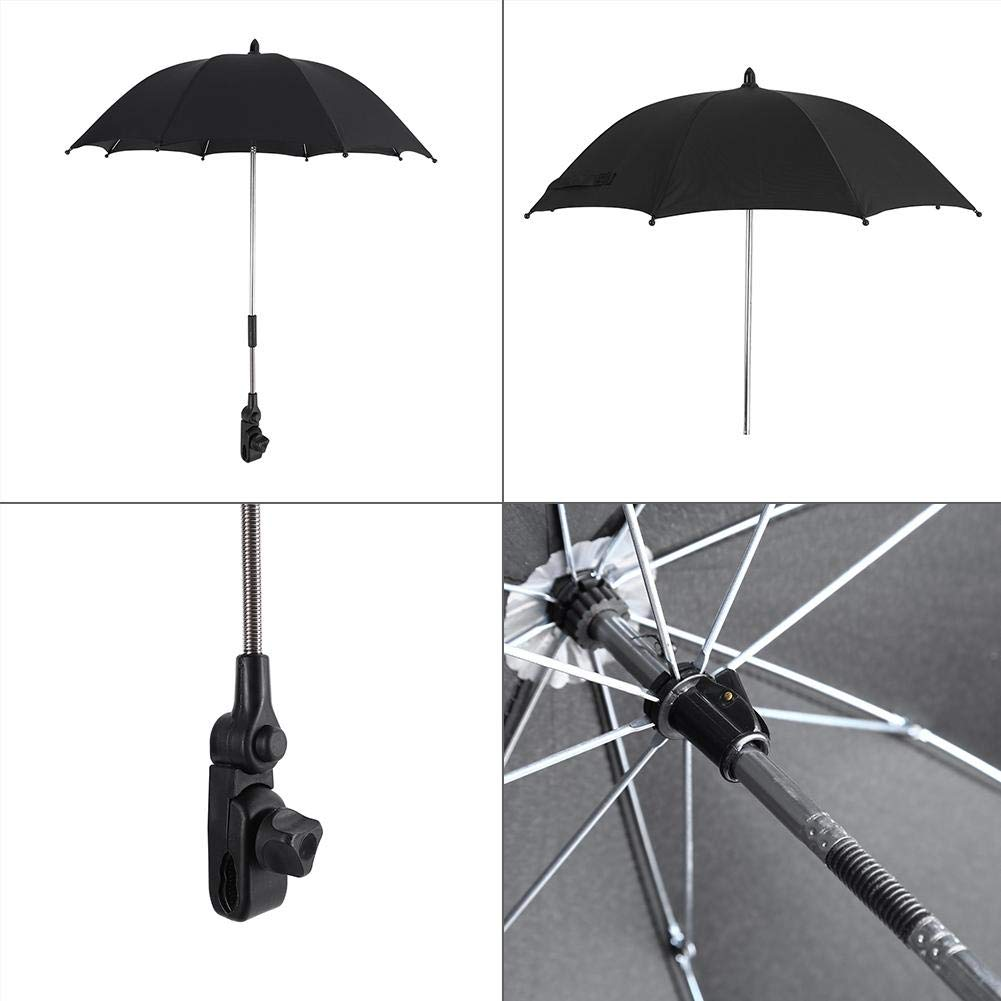 Stroller Umbrella Wheelchair Pushchair Plastic Baby Stroller Umbrella and Holder with Mental Parasol UV Rays Rain Sun Canopy Sun Shadow Shade Baby Cart Umbrella with Clip for Protecting Babies by GOTOTOP (Image #4)