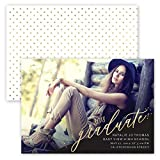 Custom Fancy Foil 2018 Graduate Design - Photo Personalized Graduation Announcement - Foil Accents - Minimum Quantity of 50, white envelopes included - 7 x 5, Made in the USA