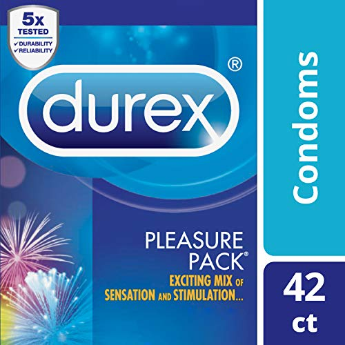 Condoms, Natural Latex Condoms, Durex Condom Pleasure Pack Assorted Condoms, 42 Count - An exciting mix of sensation and stimulation