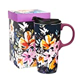 Travel Ceramic Coffee Mug Porcelain Water Cup Sealed Lid With Gift Box 17oz.Watercolor Boho