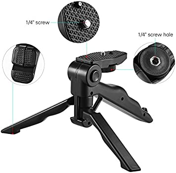Andoer Mini Tabletop Tripod Stand Handheld Grip Stabilizer with Universal S8V2