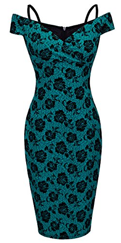 HOMEYEE Women's Vintage Elegant Printed Floral V-Neck Sling Dress B309 (XXL, Green)