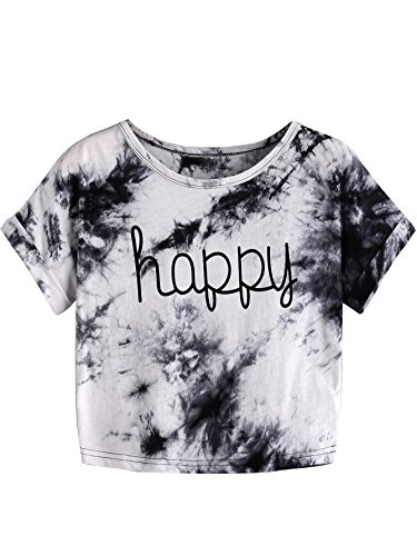 SweatyRocks Womens Tie Dye Letter Print Crop Top