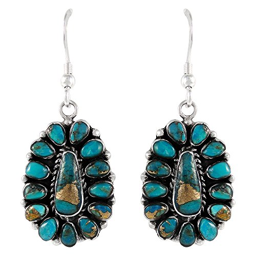 Turquoise Earrings 925 Sterling Silver Genuine Turquoise Jewelry (SELECT from different styles) (Southwest Style ()