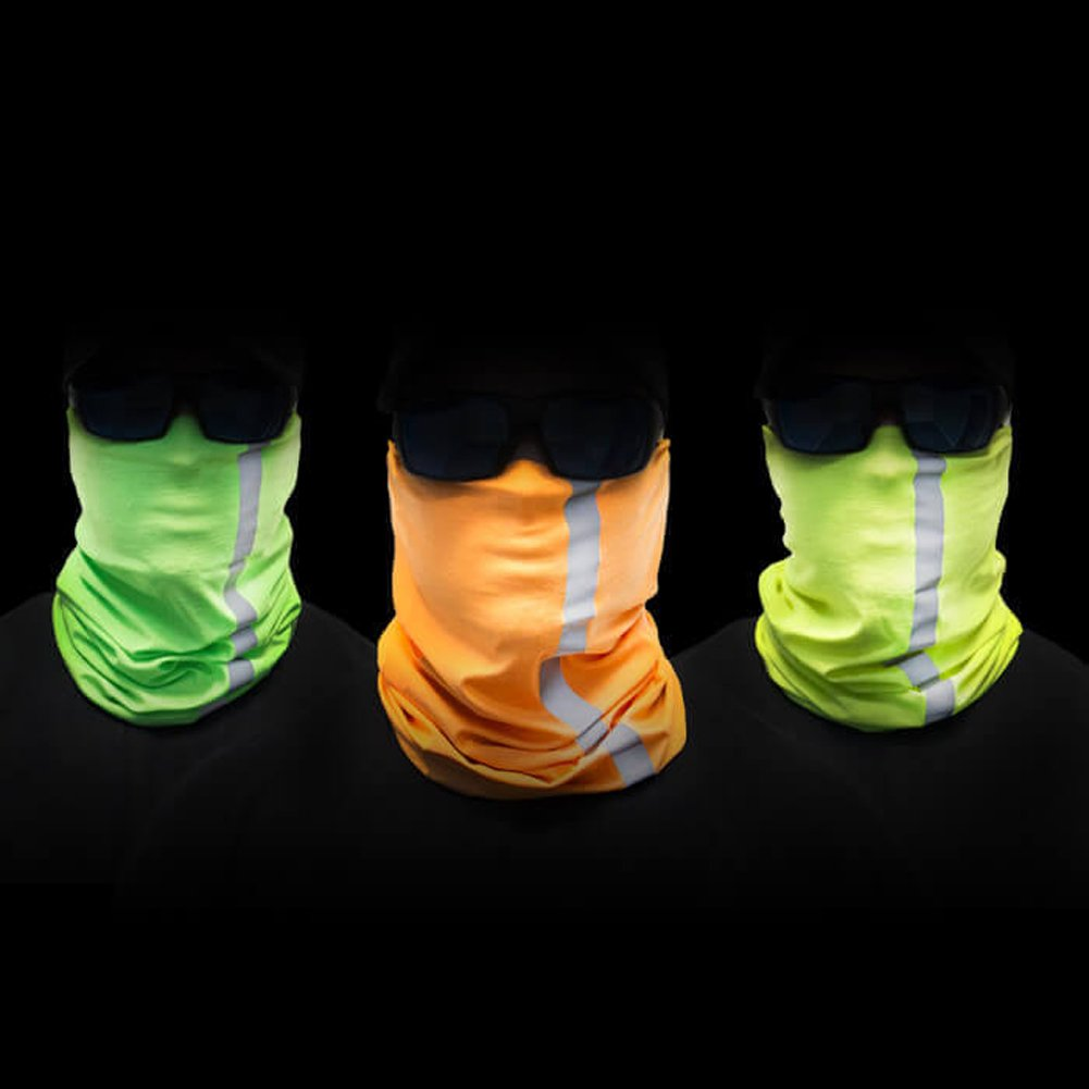 SA Company Face Shield Micro Fiber Protect from wind, dirt and bugs. Worn as a Balaclava, Neck Gaiter & Head band for Hunting, Fishing, Boating, Cycling, Paintball and Salt lovers. - Reflective Orange by SA Company