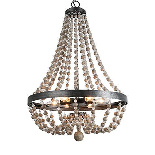 LALUZ 6-Light Beaded Empire Chandelier, Pendant Lighting Fixture for Kitchen Island, Natural Wood Beads, 28.3