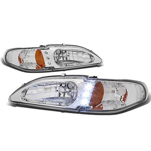 For Ford Mustang SN95 Pair Chrome Housing Amber Corner LED Headlight+Corner Signal