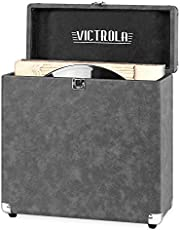 Victrola Vintage Vinyl Record Storage Carrying Case for 30Plus Records, Gray