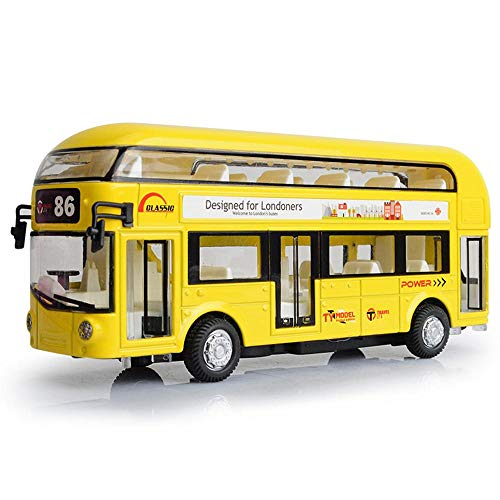 Unetox Double-Decker Bus Diecast Modern Motor Coach Toy with Lights and Music1:50 Scale Pull Back Tour Bus Vehicle Model Great Gift for Kids Children 1PCS (Yellow)