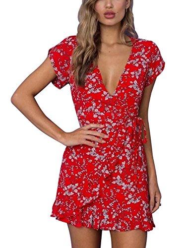 FFLMYUHULIU Women's Vintage Deep V-Neck Short Sleeves Floral Print Ruffles Hem Party Short Mini Dress ZC42-C086hongse-L - Sexy Floral Dresses