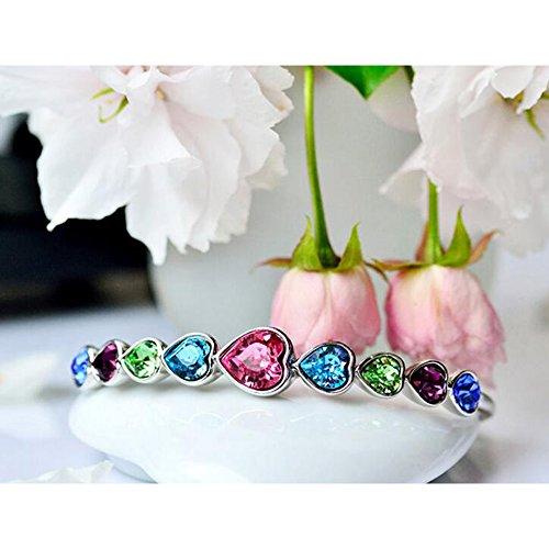 Eastlion Crystal Ladies Bracelet Fashion Heart-shaped Bracelet Creative Hand Jewelry,Blue by Eastlion (Image #2)