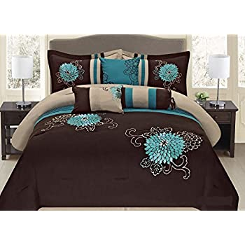 Amazon Com Turquoise Blue Brown And White Comforter Set