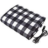 Happy Hour US Car Electric Blanket 12V Fleece Electric Heated Travel Blanket for Car and RV-Great for Cold Weather (Grey/White)