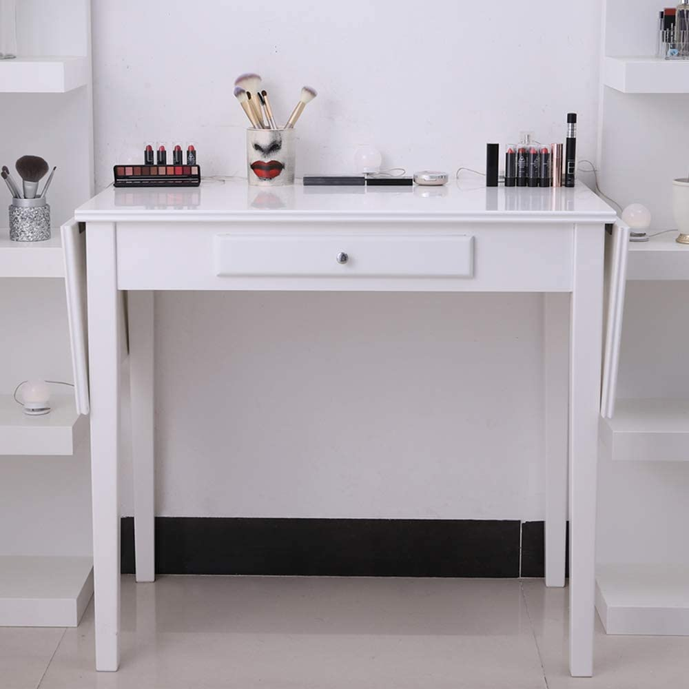 Chende White Makeup Vanity Table with Drop Leaf Design for Bedroom, Wooden  Home Office Writing Desk with Drawer, Folding Table for Dining Room and