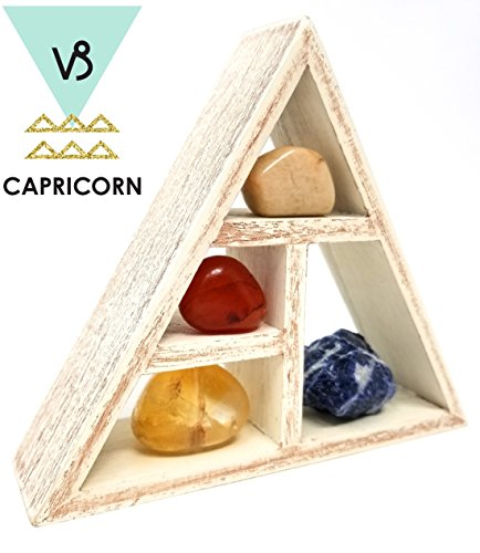 CAPRICORN Zodiac Crystal Healing Set / Tumbled Stones and Wooden Geometric triangle shelf in Gift Box / Astrology Sign Capricorn Birth Stones