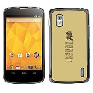 Cubierta protectora del caso de Shell Plástico || LG Google Nexus 4 E960 || Retro Poem Quote Text @XPTECH