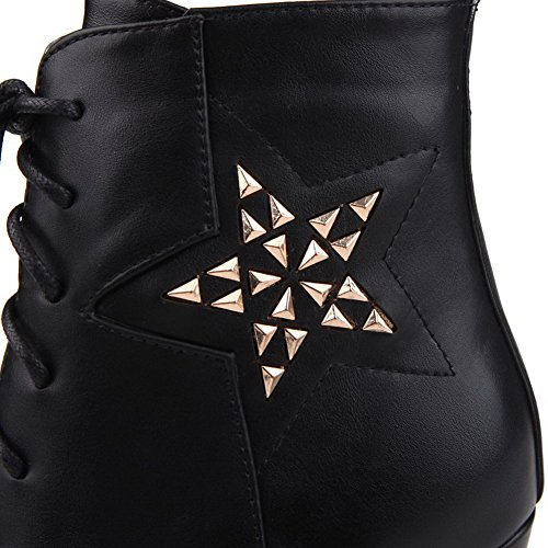 AllhqFashion Low Zipper Heels Black High Womens Top Solid Boots 37 Piece Metal With rTnawrqR