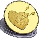 Moneta d'amore e regalo romantico - placcato in Oro 24 carati 99,9% - perfetto per un'occasione speciale - per un regalo per un anniversario - 28 grammi - 4,0 cm monete - Astuccio gratuito e borsellino in velluto da regalo - spedito da Amazon