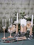 Rose Gold Wedding Set, Silver Crystal Wedding Champagne Glasses, Wedding Unity Candle Set, Rose Gold Wedding Cake Server and Knife Set of 7