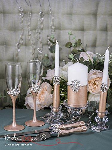 Rose Gold Wedding Set, Silver Crystal Wedding Champagne Glasses, Wedding Unity Candle Set, Rose Gold Wedding Cake Server and Knife Set of 7 by DiAmoreDS
